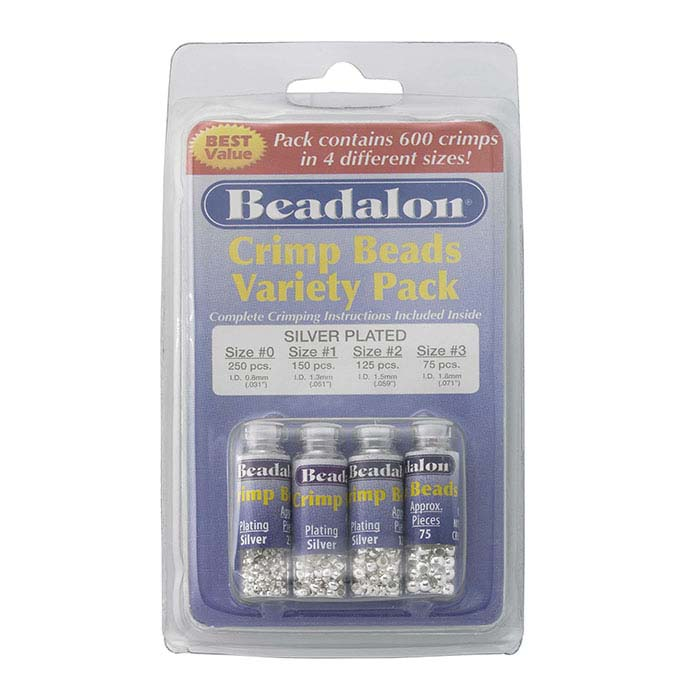 Beadalon® Silver-Plated Round Crimp Bead Assortment, Sizes 0-3