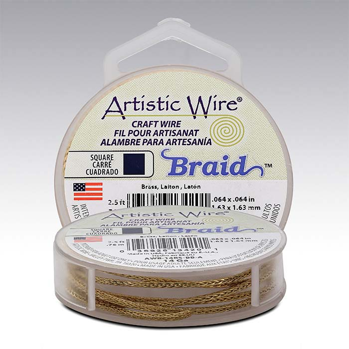 Artistic Wire® Brass 14-Ga. Square Braid, 2-1/2-yd. Spool