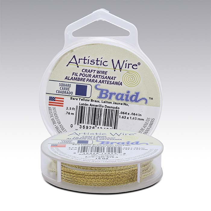 Artistic Wire® Yellow Brass 14-Ga. Square Braid Wire, 2-1/2-yd. Spool