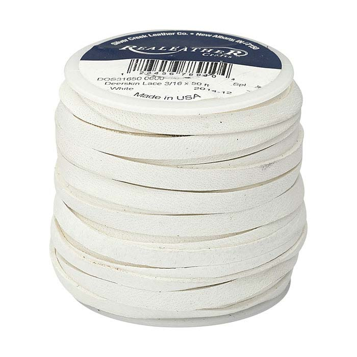 "White Deerskin Leather 3/16"" Flat Lace, 50-ft. Spool"