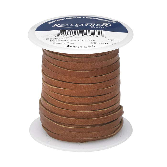 "Saddle Tan Deerskin Leather 1/8"" Flat Lace, 50-ft. Spool"