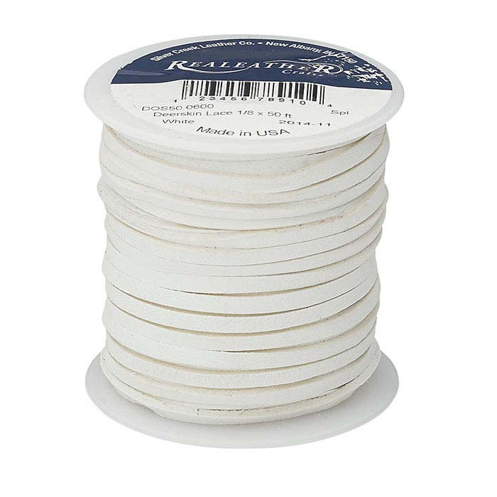 "White Deerskin Leather 1/8"" Flat Lace, 50-ft. Spool"