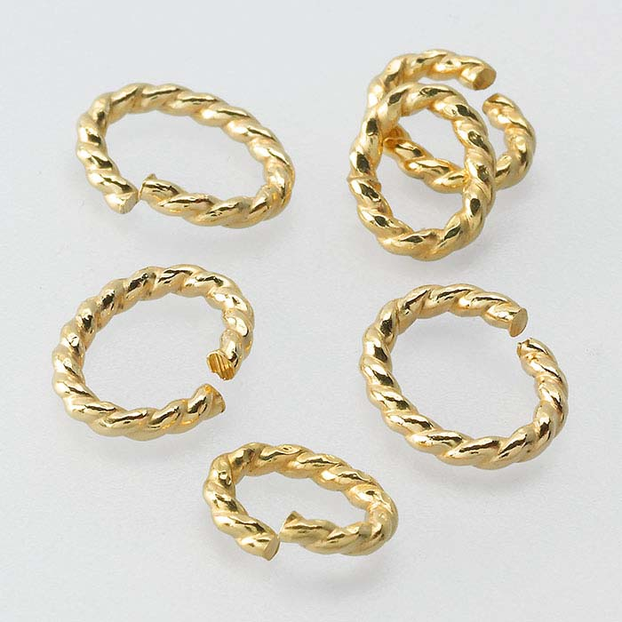 14/20 Yellow Gold-Filled Oval Twist-Wire Jump Rings