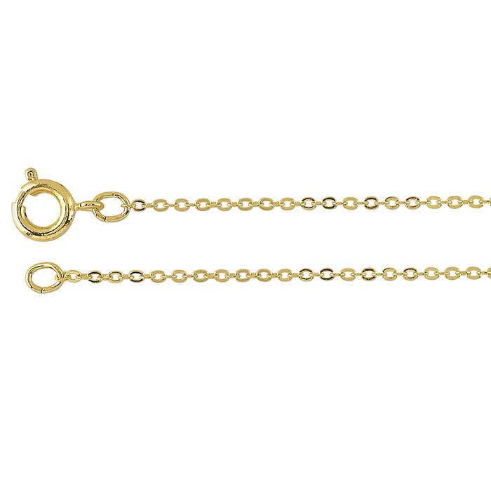 Brass Yellow Gold-Plated 1.2mm Flat Cable Chains