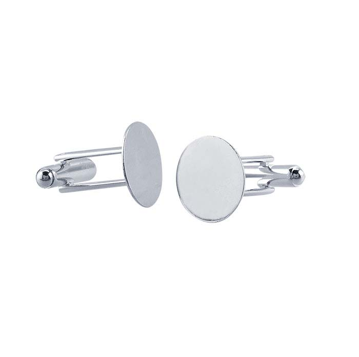 Base Metal Silver-Plated Cuff Links
