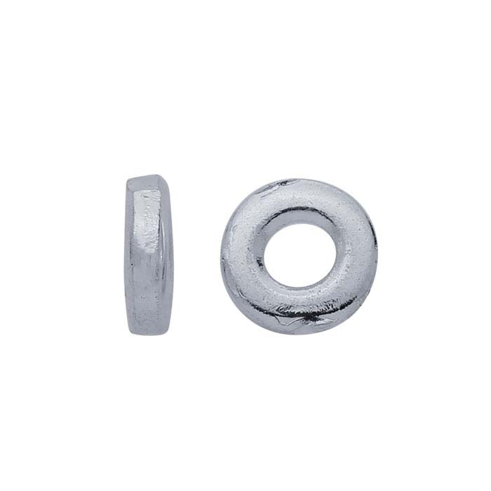 Brass Silver-Plated 4 x 1mm Bead