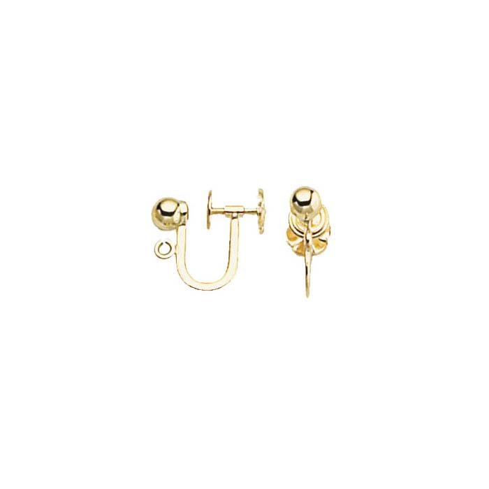 14K Yellow Gold Ear Screw with 4mm Ball