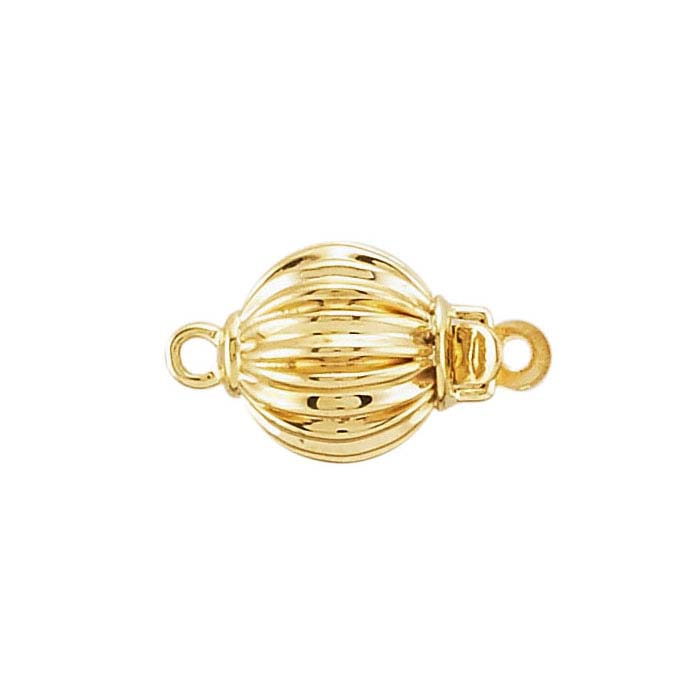 14K Yellow Gold Corrugated Bead Safety Clasps