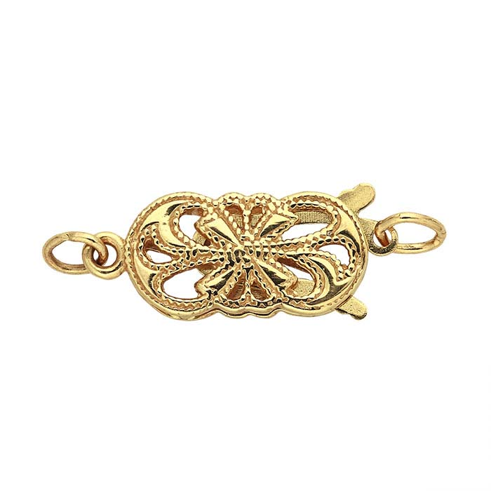 14K Yellow Gold Oval Open Filigree Safety Clasp