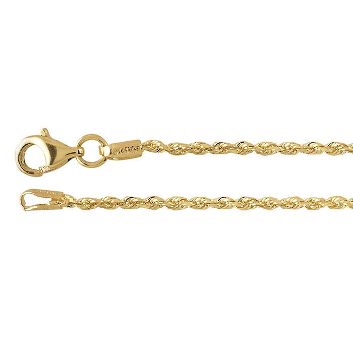14K Yellow Gold Diamond-Cut Solid Rope Chains