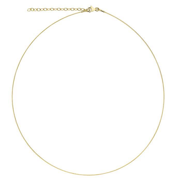 14K Yellow Gold 0.6mm 1-Strand Cable Neck Wire