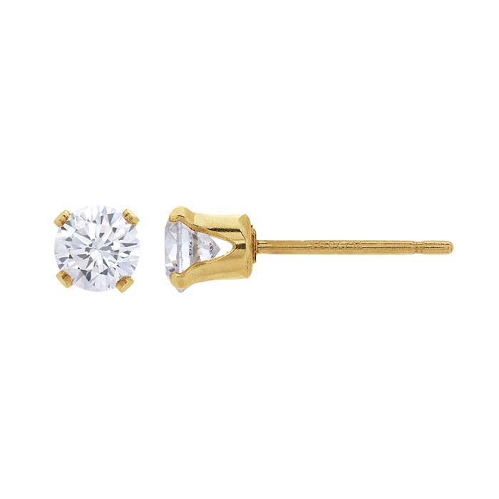 14/20 Yellow Gold-Filled White CZ-Set Post Earring