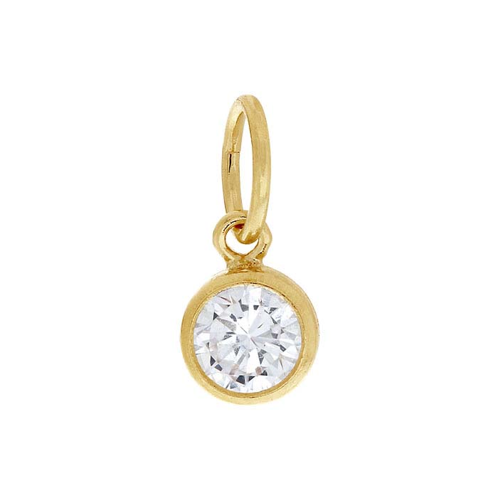 14/20 Yellow Gold-Filled Round Faceted CZ-Set Charms