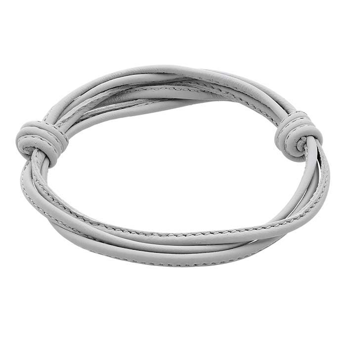 Gray Italian Leather Multi-Strand Bracelet, Adjustable