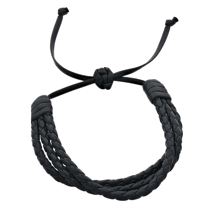 Black Italian Leather Multi-Strand Round Braid Bracelet, Adjustable