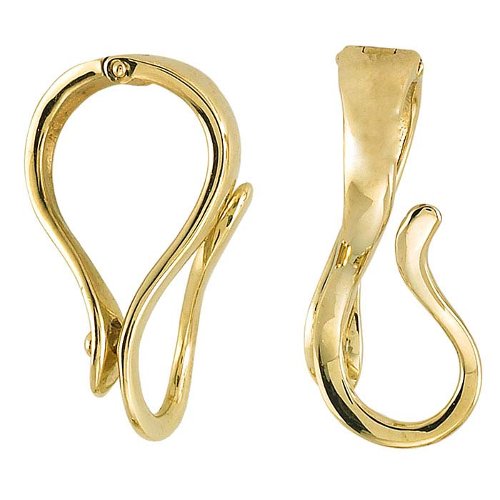 14K Yellow Gold Hinged Necklace Enhancer with Interchangeable Hook