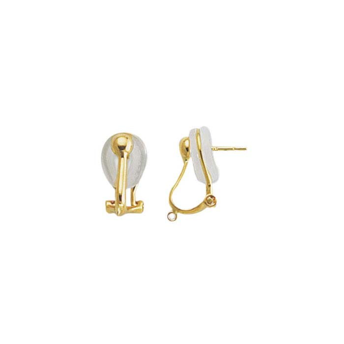 18K Yellow Gold Half-Ball Omega Clip & Post Earring with Closed Ring