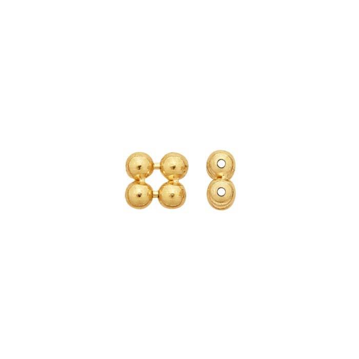 14K Yellow Gold 2 x 1mm Quad Bead