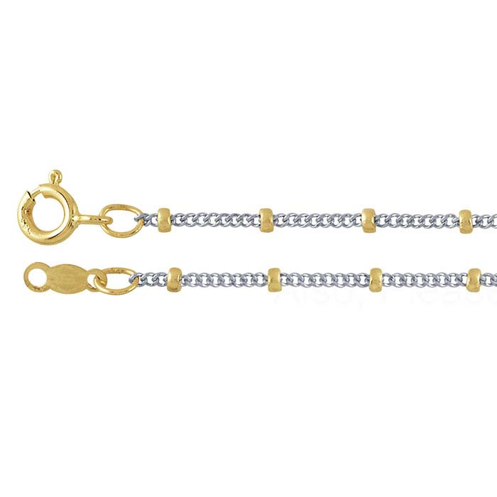 14K White Gold 1mm Diamond-Cut Curb Chain with 14K Yellow Gold 2mm Beads