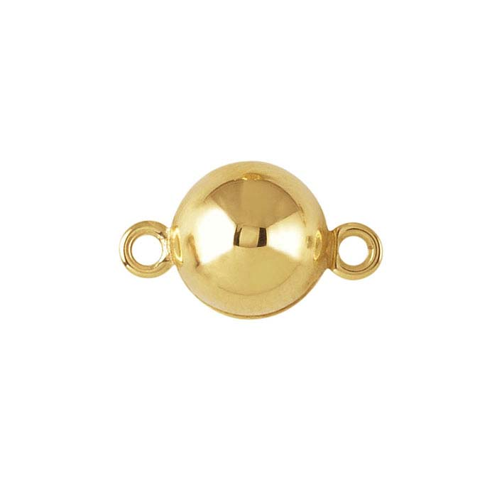 Yellow Gold Round Ball Magnetic Clasp