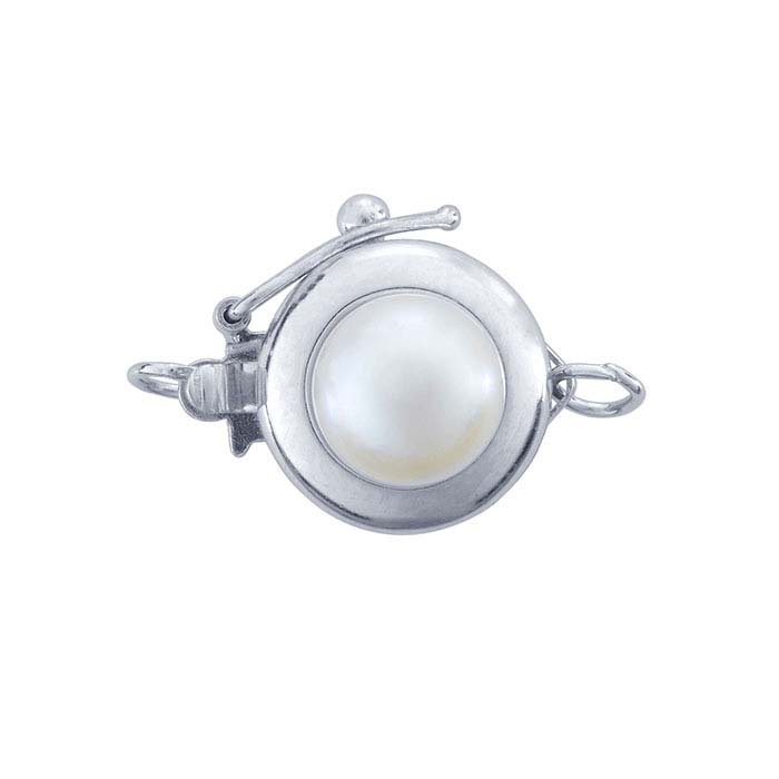 14K White Gold Pearl-Set Safety Clasp