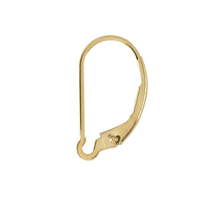 14K Yellow Gold Lever-Back Ear Wire with Interchangeable Loop