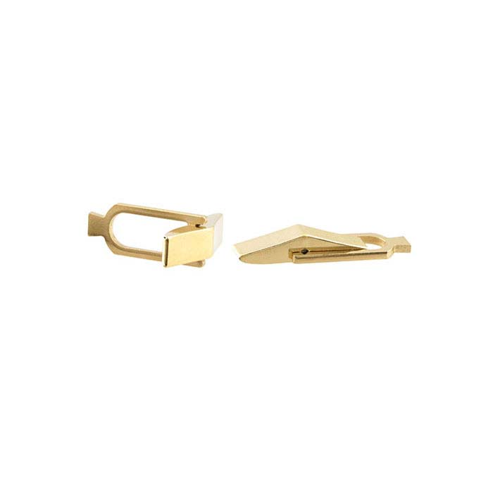14K Yellow Gold Hinged One-Piece Cuff Link Back