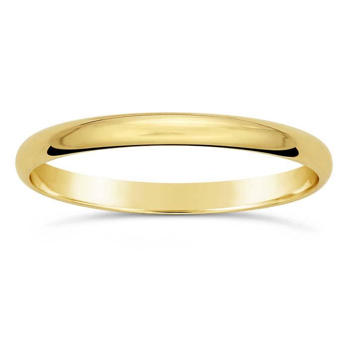 14K Yellow Gold 2mm Lightweight Wedding Band