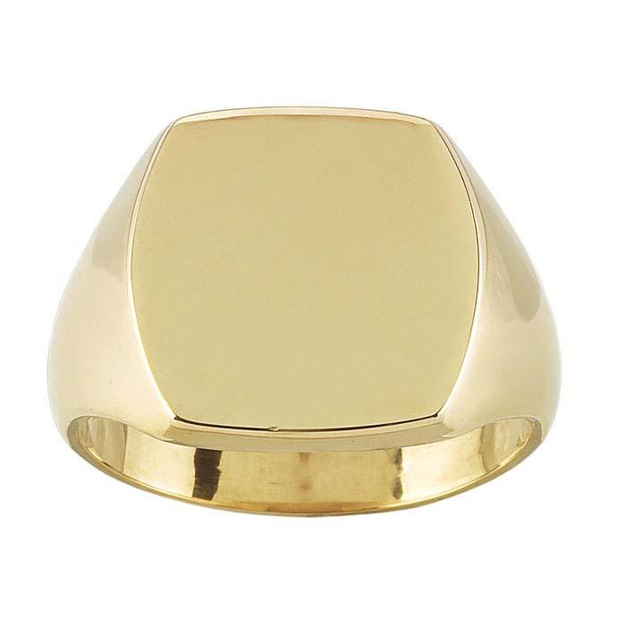 14K Yellow Gold 15 x 13mm Cushion Signet Rings