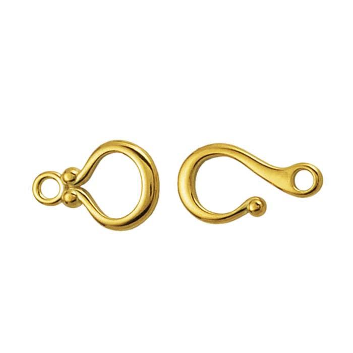 14K Yellow Gold Ball-End Hook & Eye Clasps
