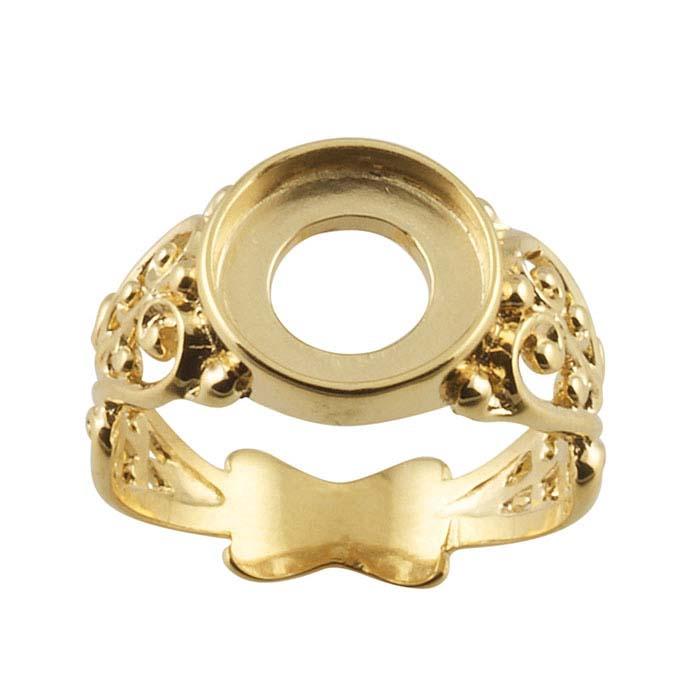 14K Yellow Gold Filigree Round Ring Mountings