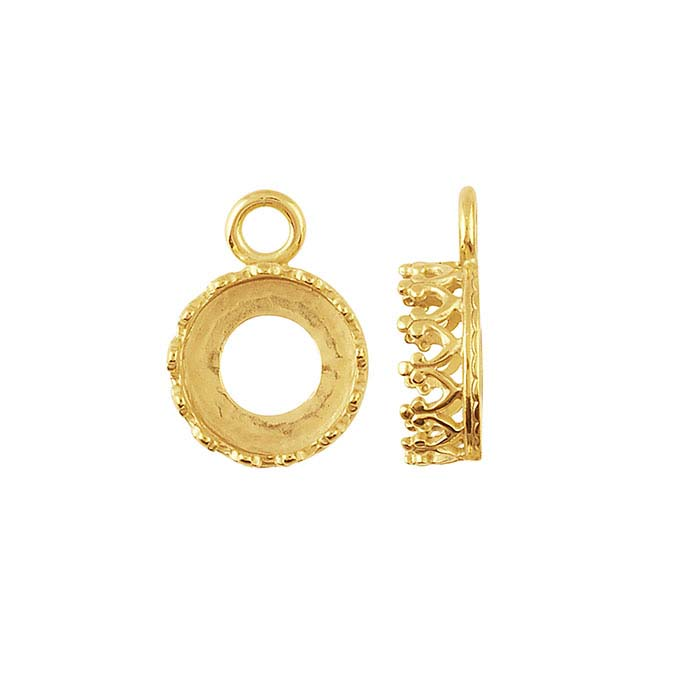14K Yellow Gold Round Gallery Wire Bezel Component Mountings
