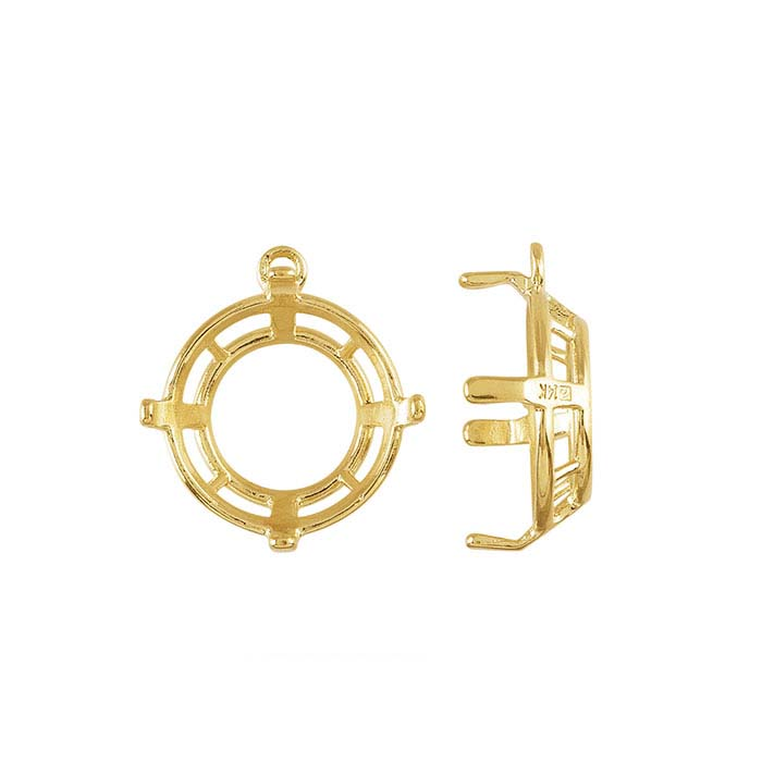 14K Yellow Gold Round Component Mountings for Lehrer Designer Faceted Stones