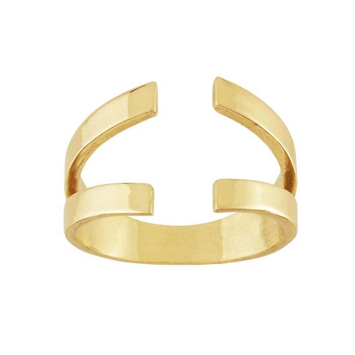 14K Yellow Gold Double Split Ring Shank