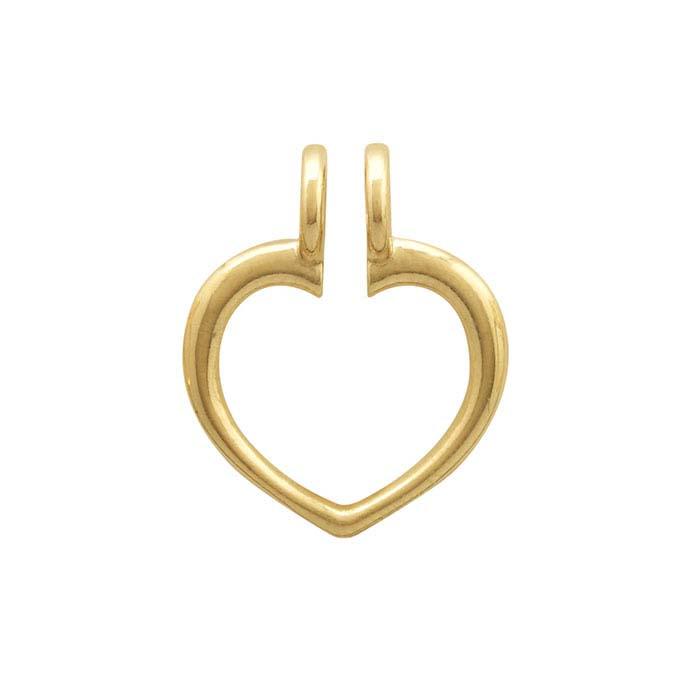 14K Yellow Gold Heart Ring Keeper Pendant