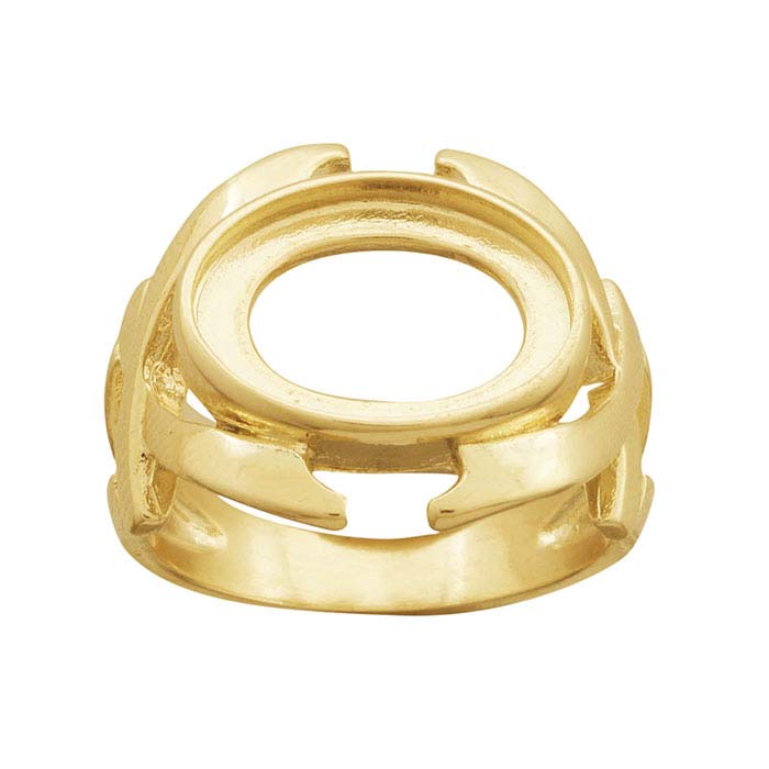 14K Yellow Gold 14 x 10mm Oval Cabochon Ring Mounting