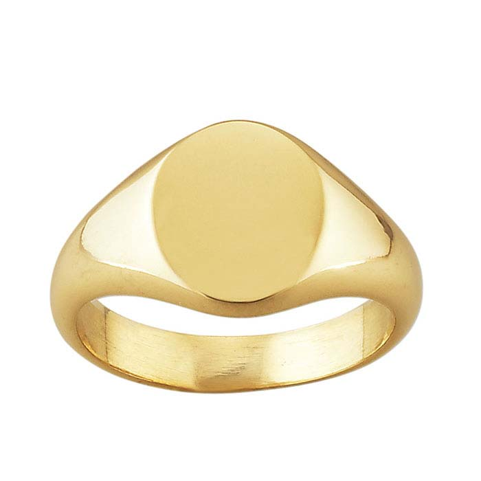 14K Yellow Gold 11 x 9mm Oval Signet Rings
