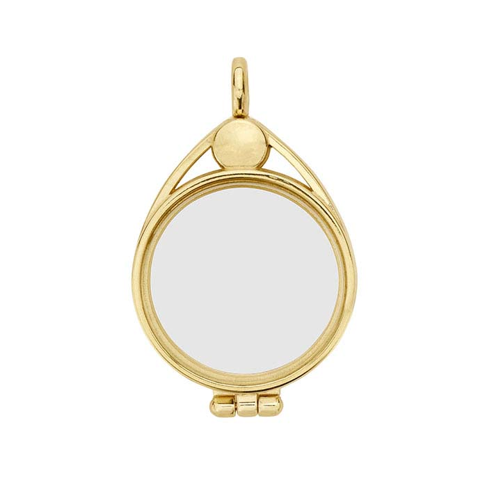 8de22ed77 14K Yellow Gold Round Floating Glass Magnetic Locket Pendant