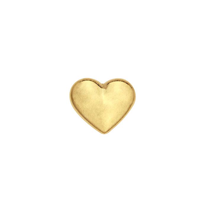 14K Yellow Gold Puffed Heart Component for Floating Glass Lockets