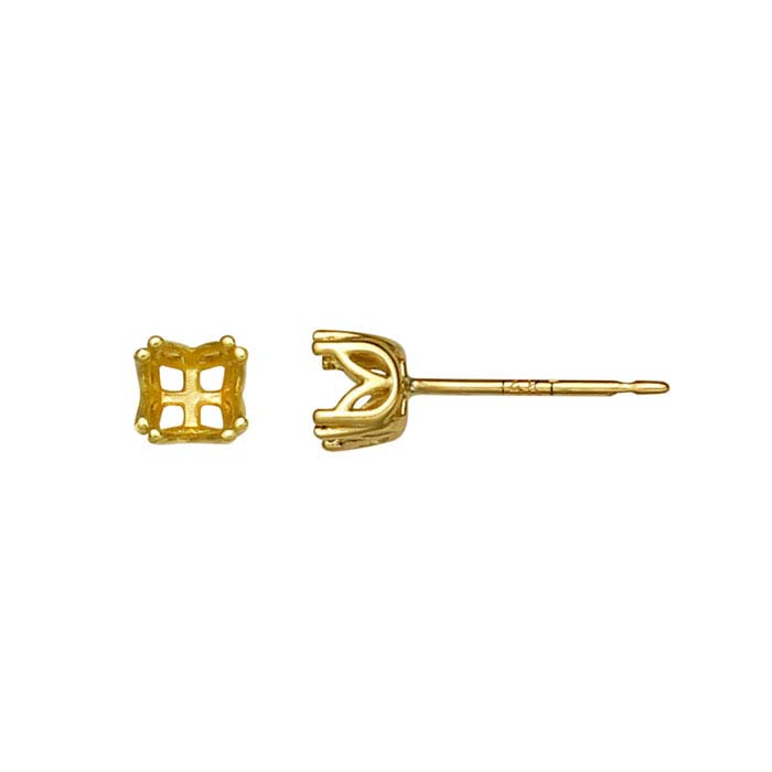 14K Yellow Gold Pre-Notched 4mm Post Earring Mounting