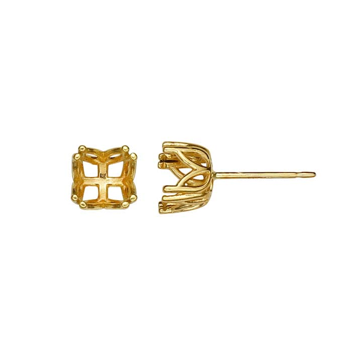14K Yellow Gold Pre-Notched Post Earring Mountings