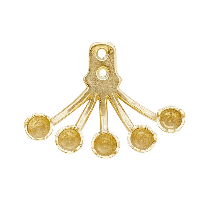 14K Yellow Gold 3-Prong Earring Jacket Mounting