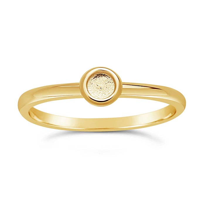 14K Yellow Gold Round Cabochon Ring Mountings