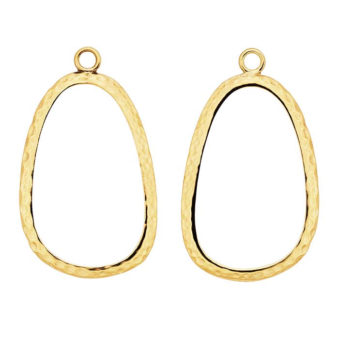 14K Yellow Gold 33 x 20mm Hammered Component Mounting, Facing Pair