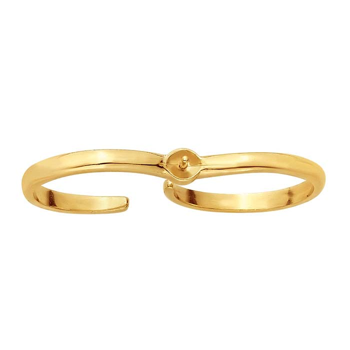 14K Yellow Gold Two-Finger Pearl Ring Mounting