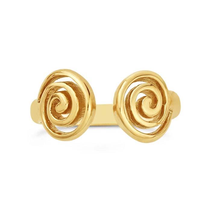14K Yellow Gold Open Spiral Ring Shank