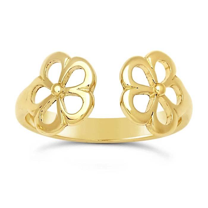 14K Yellow Gold Open Flower Ring Shanks