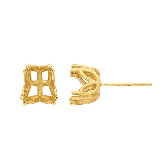 14K Yellow Gold Pear Pre-Notched Double-Prong Post Earring Mountings