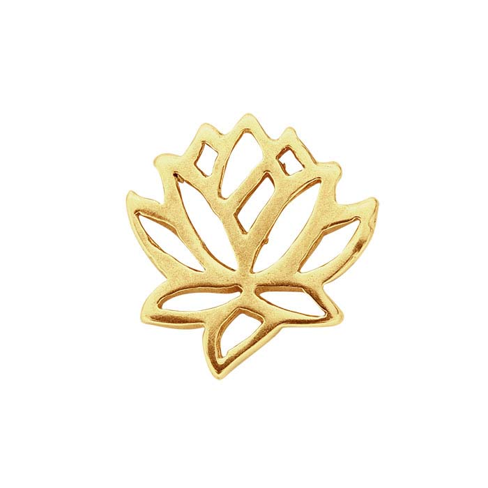 14K Yellow Gold Lotus Blossom Component for Floating Glass Lockets
