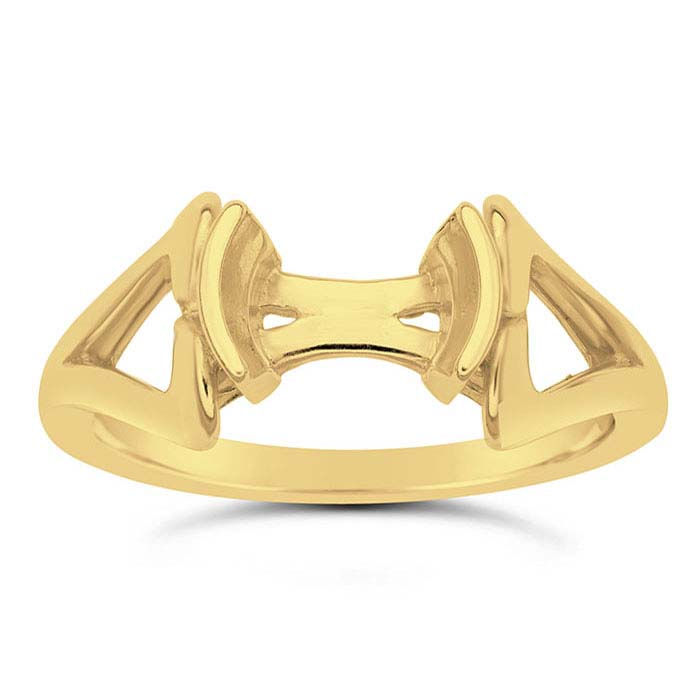 14K Yellow Gold Round Ring Mountings for Lehrer Designer Faceted Stones